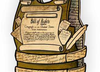 illustration shows bill of rights vest