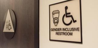 still of the gender inclusive bathrooms in the Oasis center