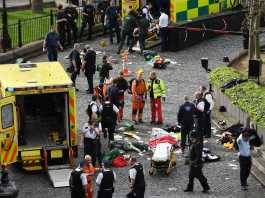 london ambuloance pictured at the scene outside the palace