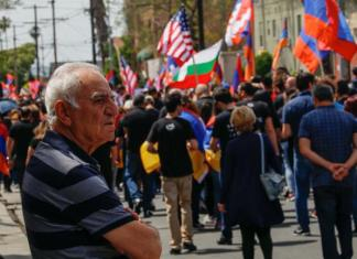people march for the 102 year anniversary of the armenian genocide