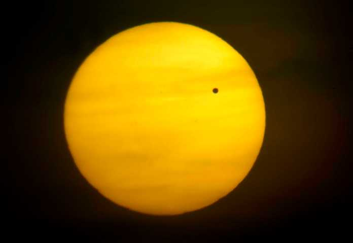 Venus pictured in front of the sun
