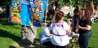 People gather for the Aztlan graduation ceremony at csun