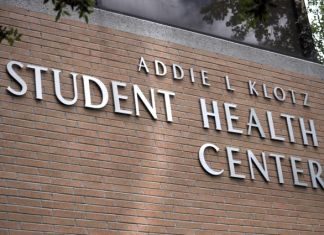 "side of building pictured, it says, ""Addie L Klotz Student Health Center"""