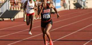CSUN athlete pictured sprinting