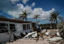 photo shows a house collapsed after hurricane irma