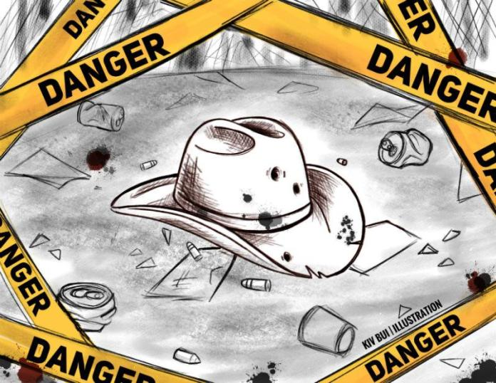 photo of bulleted cowboy hat surrounded by yellow danger tape