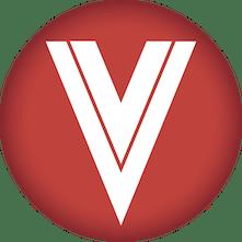red circle white letter V