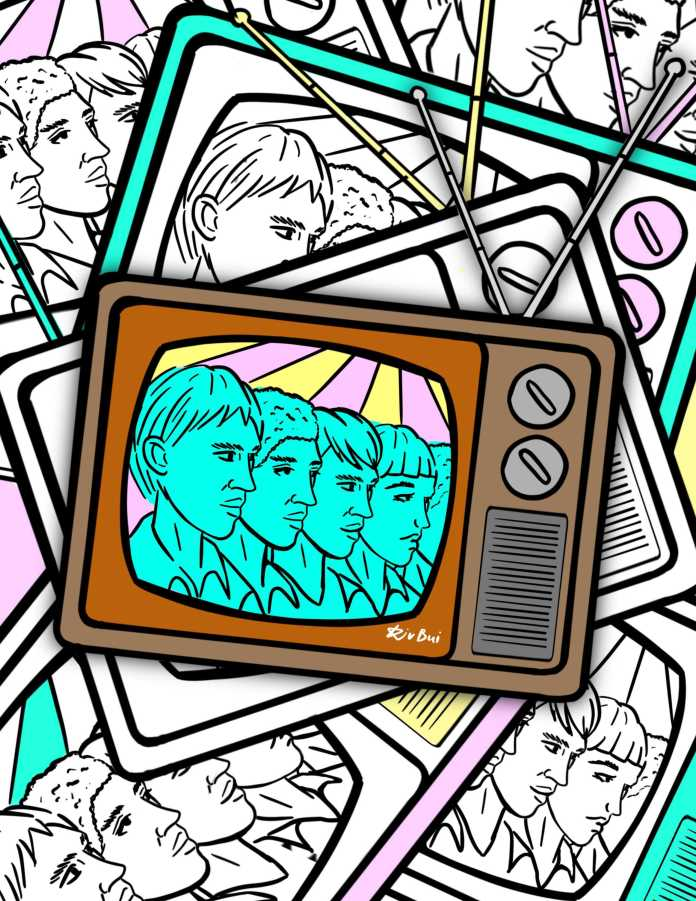 television with 4 blue faces drawn in it