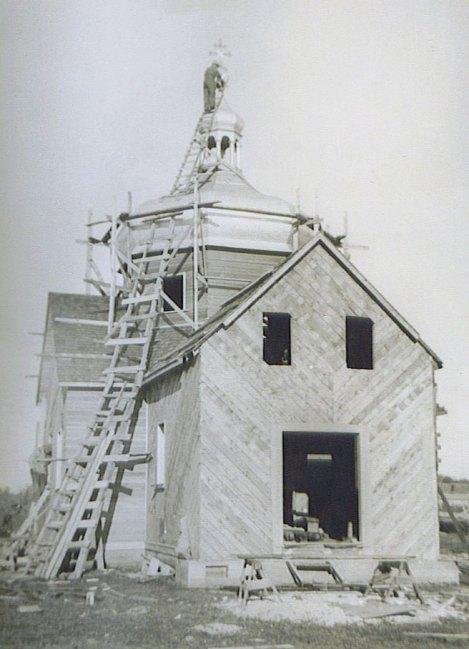 Constructing Sundown Ukrainian Orthodox Church (1940)