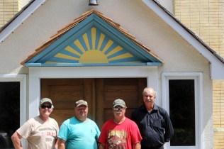 The proud crew after reinstalling the original sunburst (l-r) Terry Bjornson, Blaine Alexiuk, Wesley Gushuliak, Randy Hirschfield (25-Jul-2015)