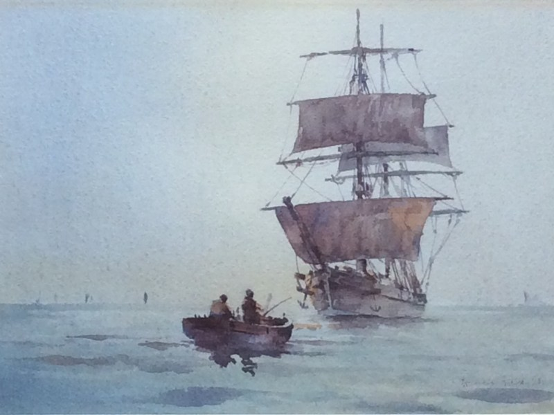 Francis Leke, Two Masted Vessel and Rowing Boat