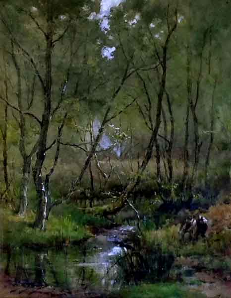 Woodland Stream with Figures Walter S Stacey