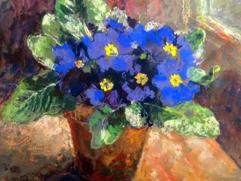 Maureen Jourdan, S.B.A. Primrose pastel painting
