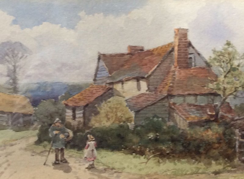 Villagers outside a cottage, Will Anderson