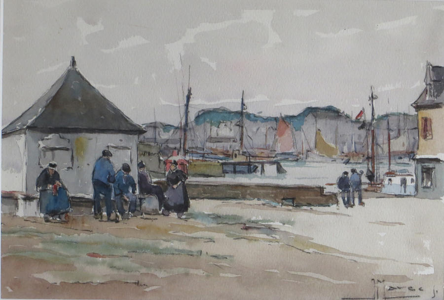 Breton Fishermen, J Marce, fishng painting