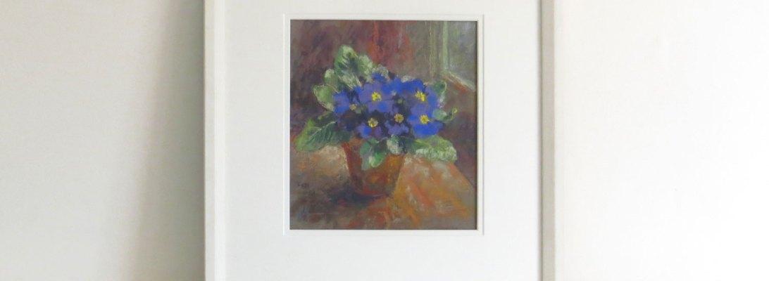 Primroses, Maureen Jordan, S.B.A., pastel painting of primroses