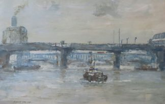 Oil Painting of River Thames Near Cannon Street by Robert Hay