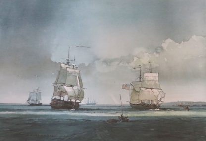 P.J. Ashmore, Watercolour Painting of Tall Ships