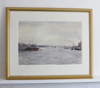 Thames from Rotherhithe, watercolour painting of boats on the Thames byLlewellyn Petley Jones