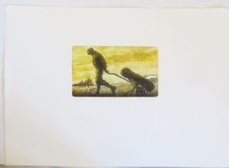 Valerie Christmas limited edition etching of a golfer