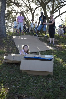Cardboard box sledding