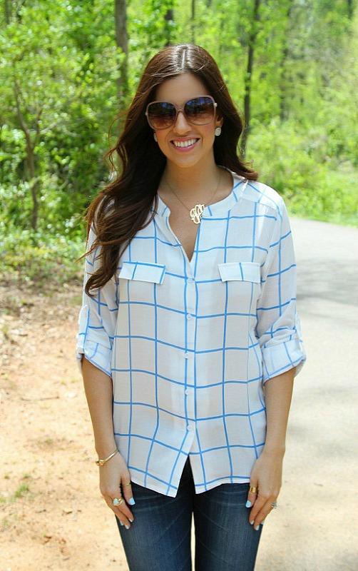 Petal Blue and White Button Down Shirt