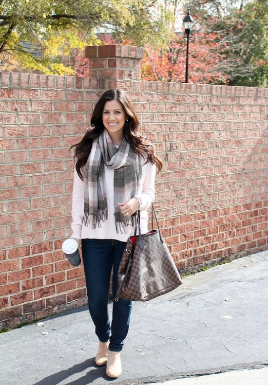 Pink and Brown plaid GAP scarf