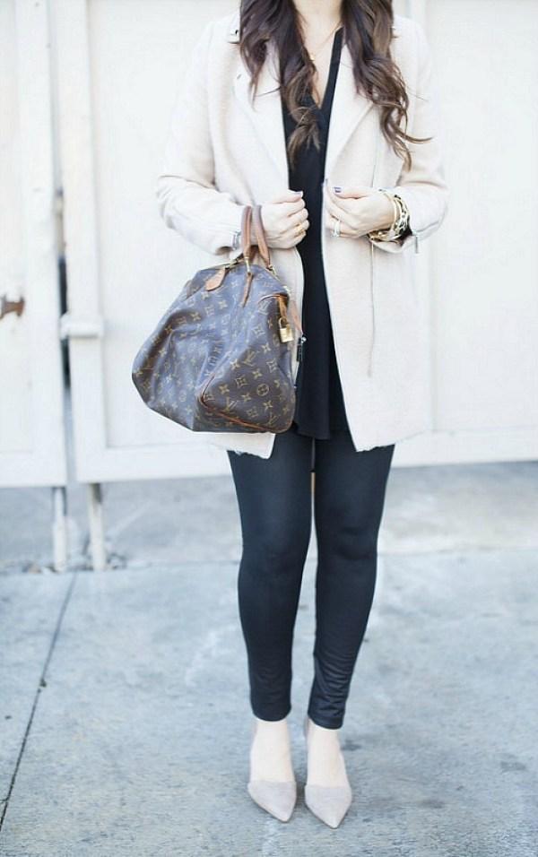 Cream Winter Coat with black leggings