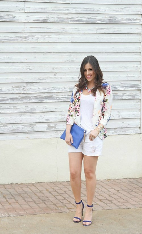 Floral Blazer with shorts