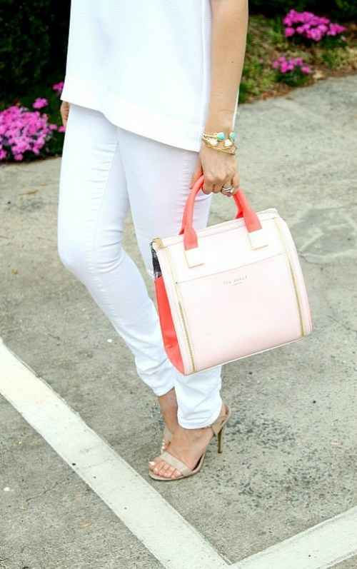 Ted Baker pink and neon coral bag