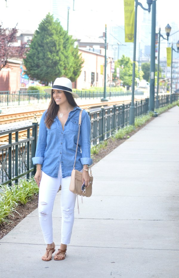 Denim shirt with white jeans