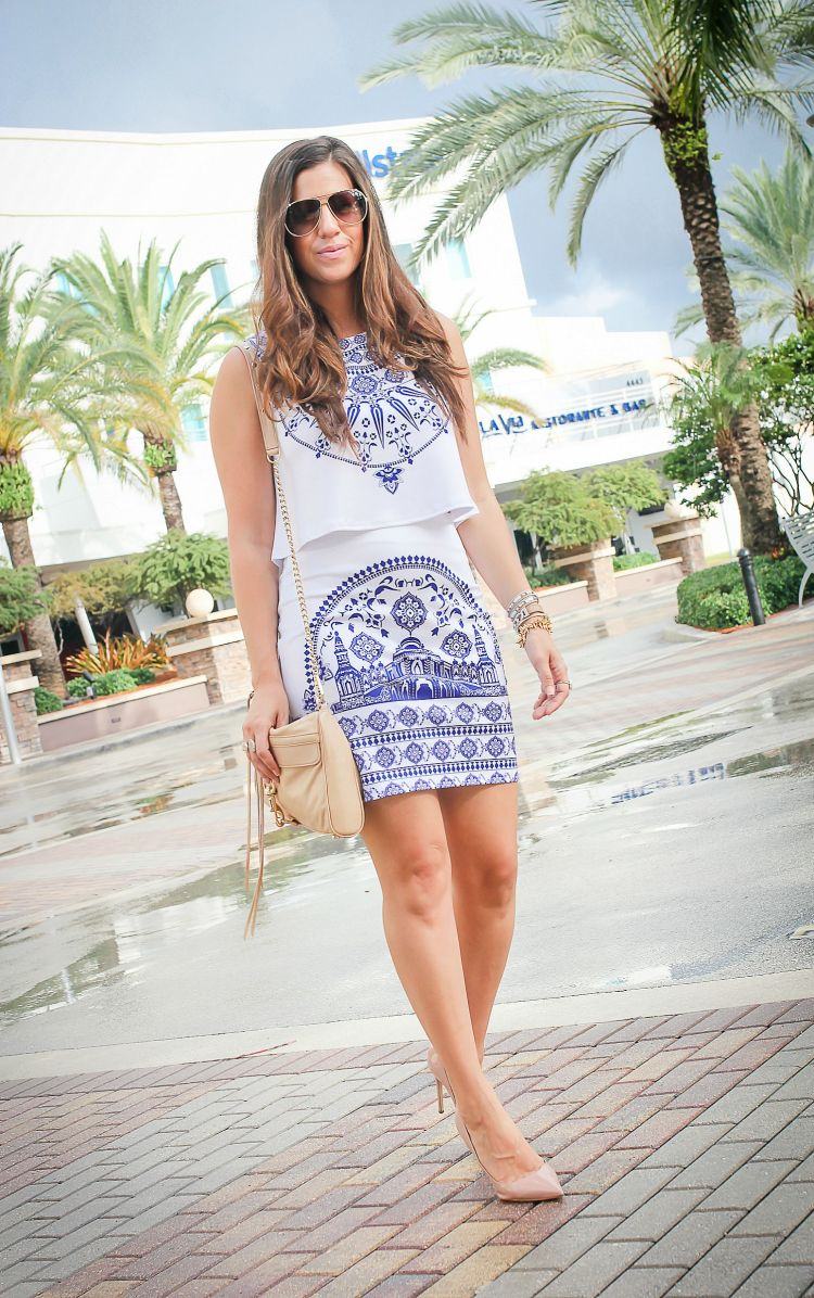 white and blue co ord set