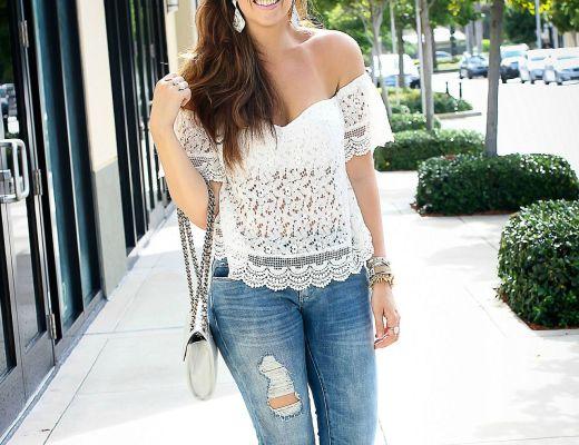 white crochet off shoulder top