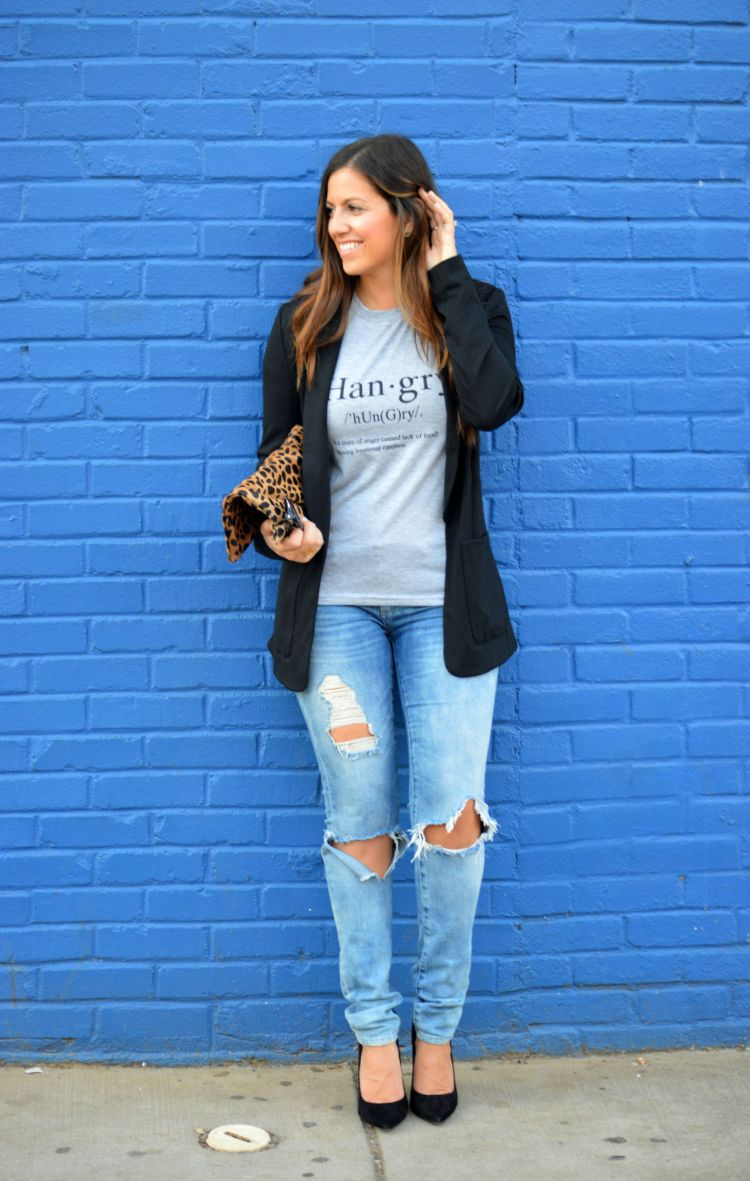 graphic tee, boyfriend blazer, distressed denim, boyfriend jeans