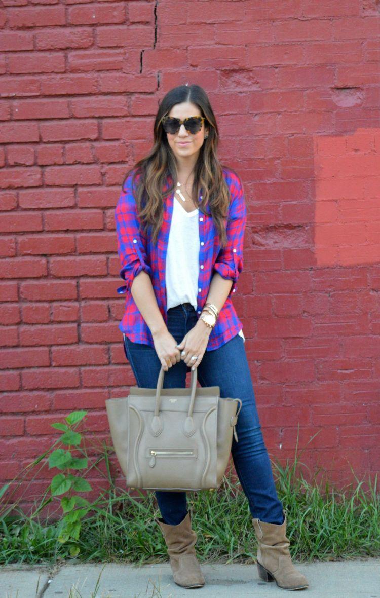 plaid shirt fall staple outfit