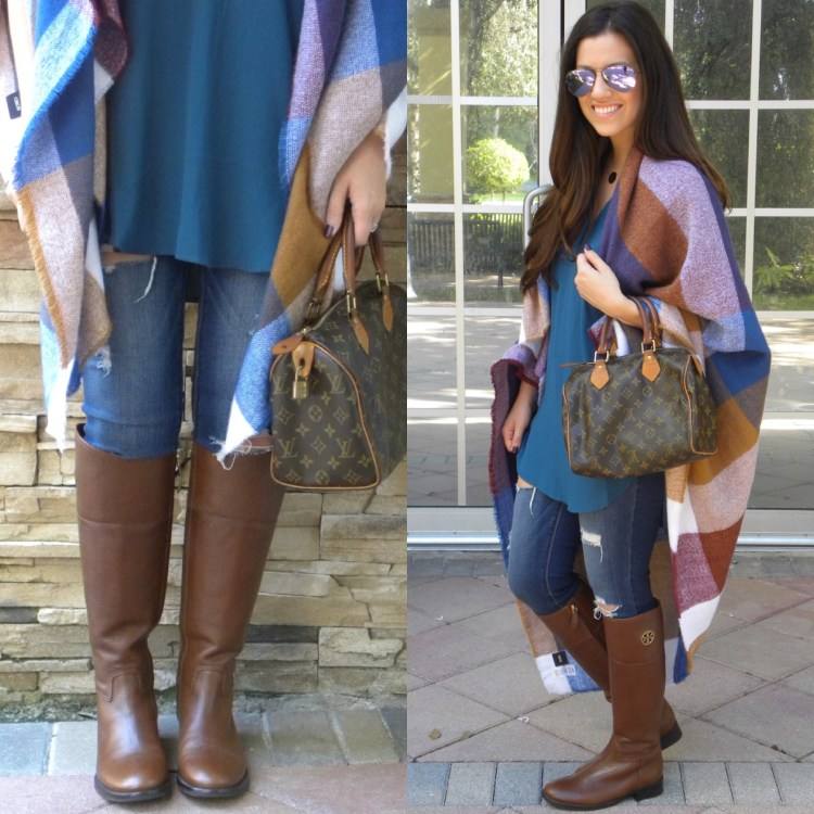 perfect tunic for women, tory burch riding boots, asos oversized blanket scarf
