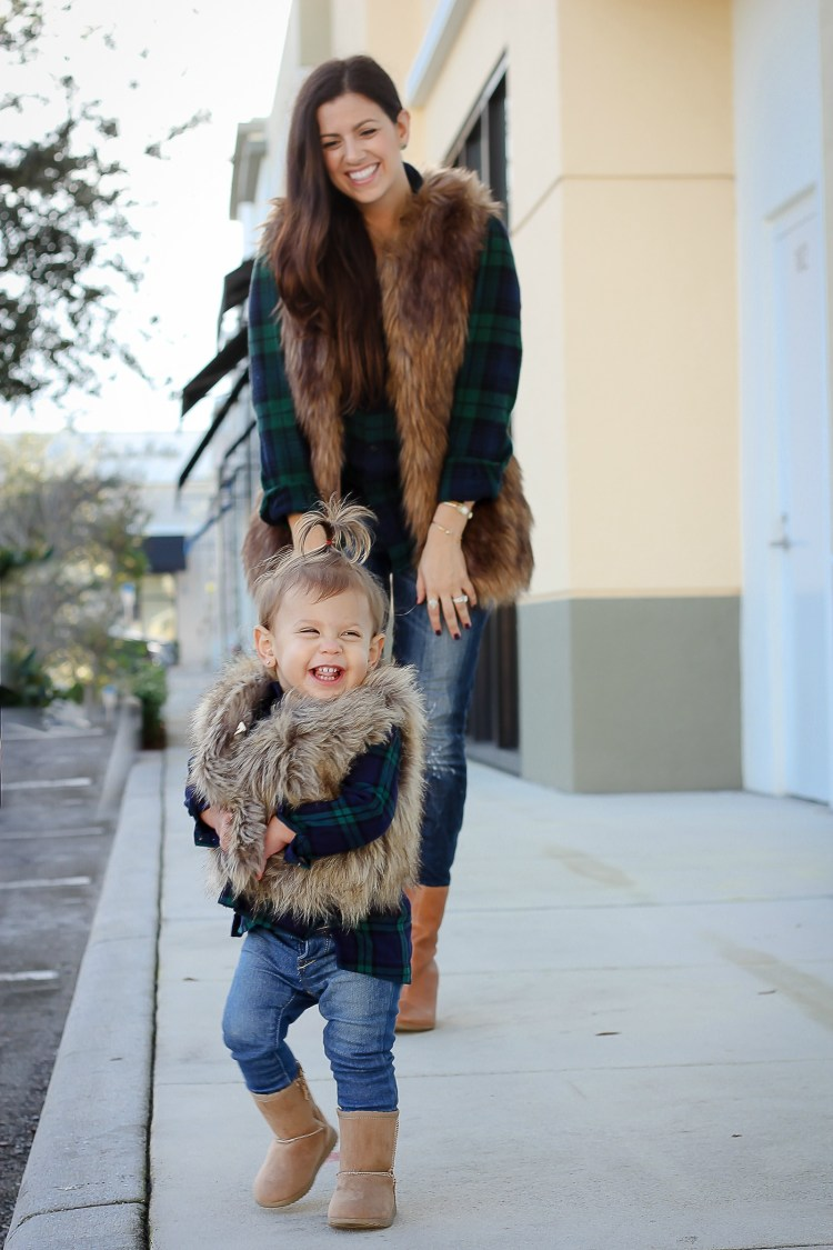 mother daughter matching faux fur vest