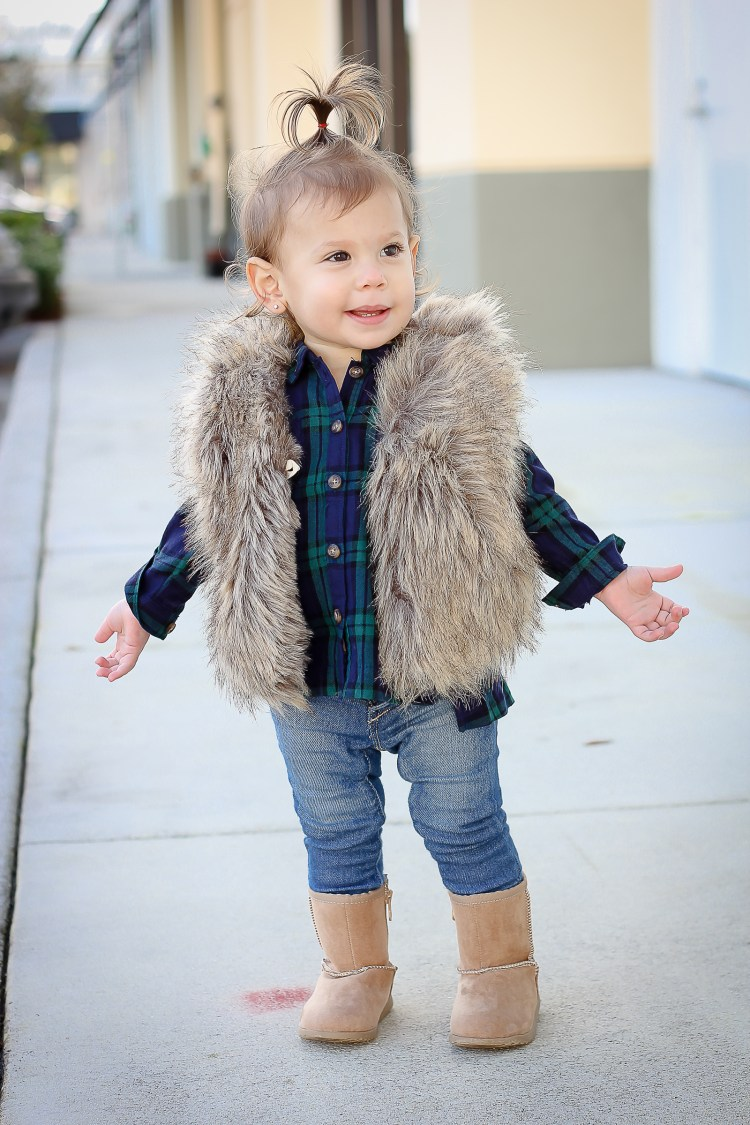 baby girl faux fur vest