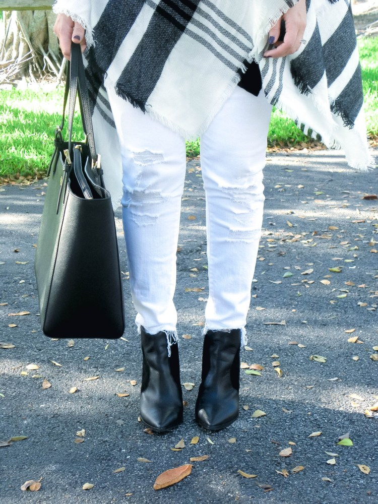 Kenneth Cole Reaction booties, white jeans with black booties