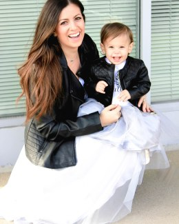 leather jacket with tutu skirt