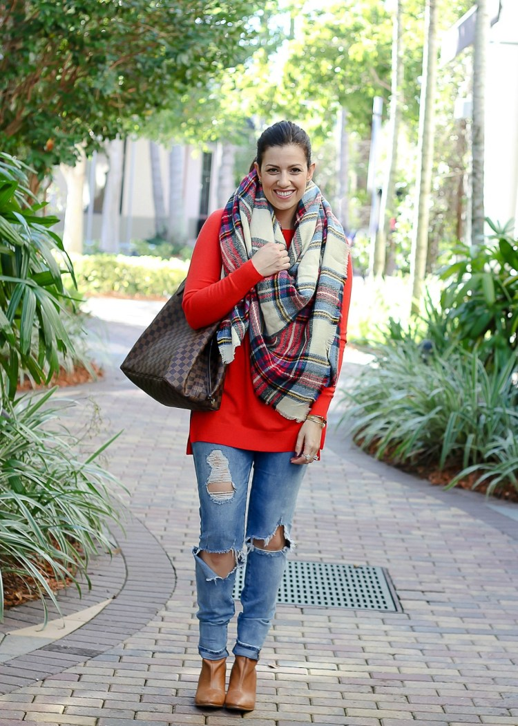 cute plaid blanket scarf