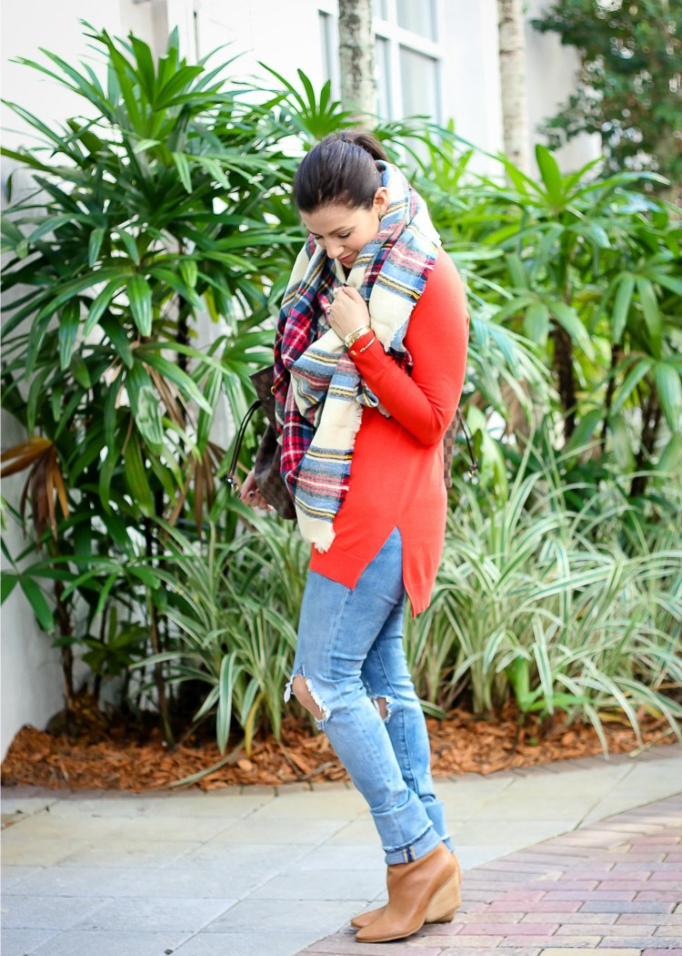 Blank NYC distressed denim, cute winter outfit, casual mom on the go look