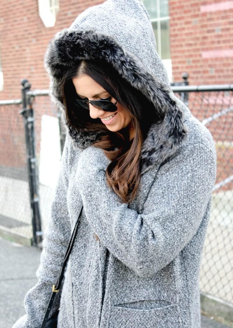 faux fur hooded cardigan, zara sweater