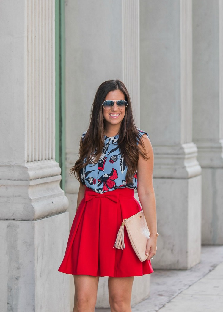 j crew floral top, chicwish red bow skirt