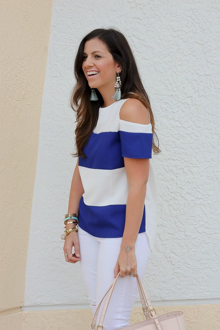 blue white striped top, bauble bar tassel earrings, Jaime Cittadino, Florida blogger