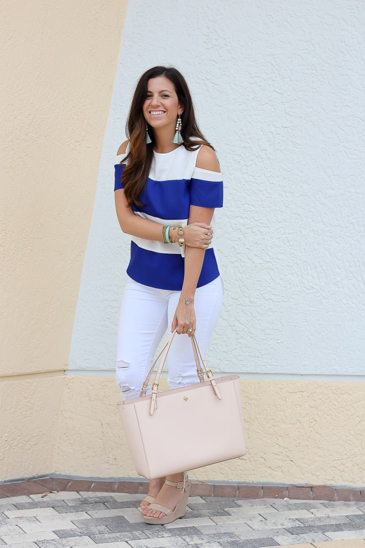 blue white stripes top, white jeans, nautical outfit