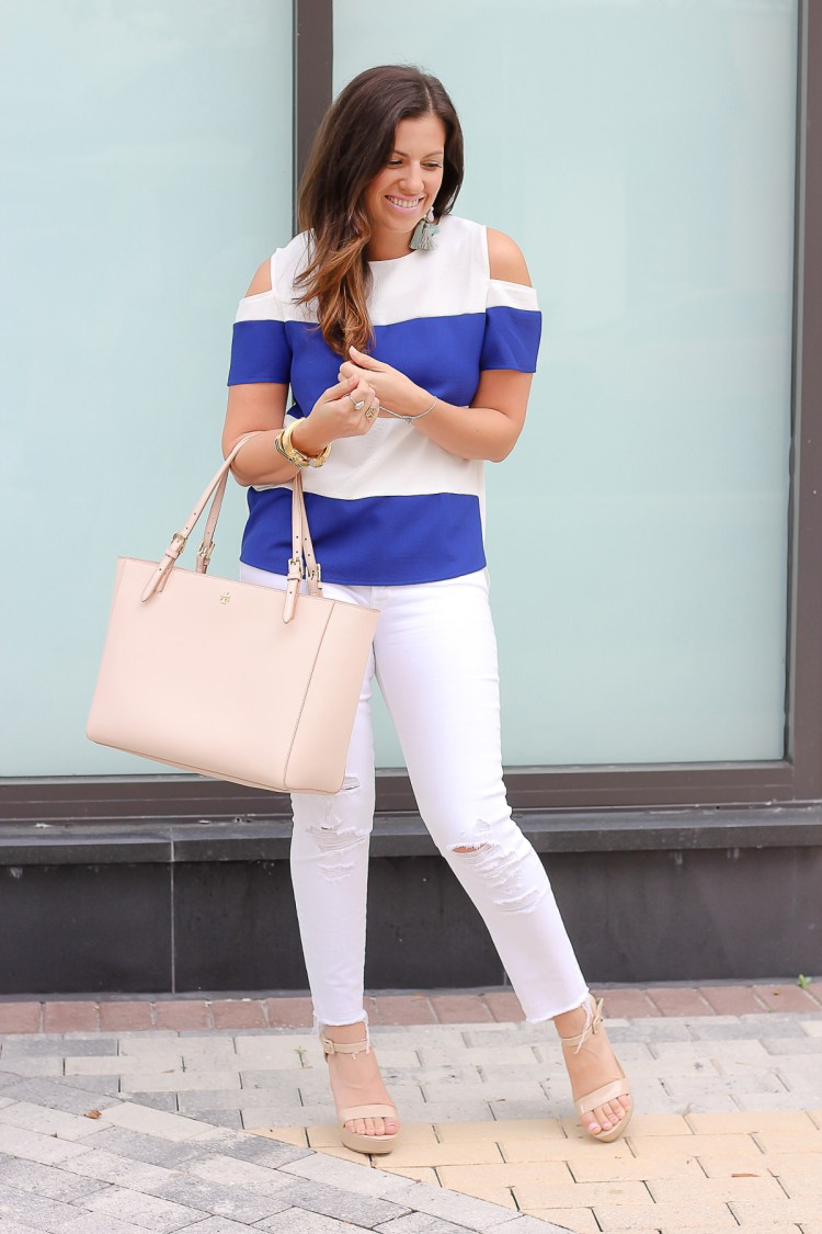 J brand distressed white jeans, Jaime Cittadino, Tory Burch York bag