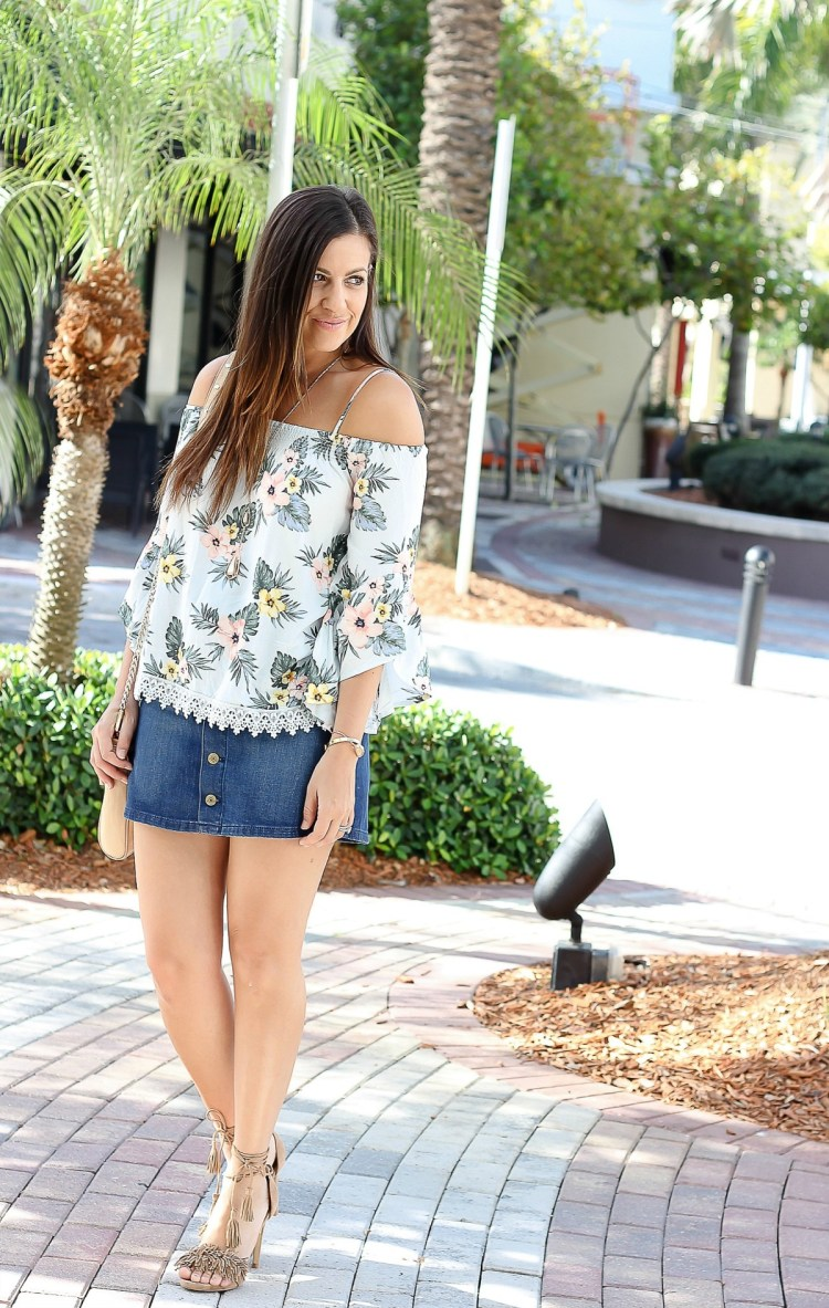forever 21 off shoulder top, forever 21 floral top, Jaime Cittadino, Miami Fashion Blogger