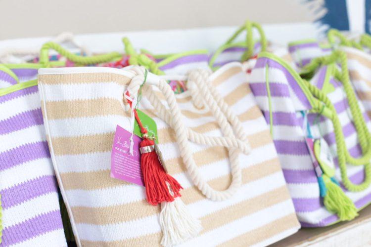 beige and white striped tote, best beach tote, Vera Bradley tote