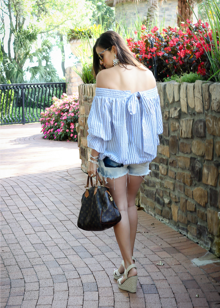 off shoulder blue striped top with bow in back